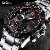 Biden jam tangan pria tali stainless steel bisnis Tahan Air Kuarsa jam