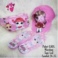 Paket Gaul Topi LED Waistbag dan Sendal LOL Anak Perempuan