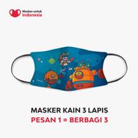 Masker Kain 3 Lapis (3 Ply) Earloop - Desain oleh Kong Andri