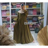 Gamis Wanita Naura Kancing Bahan Wolfis Polos Busui Friendly - Hijau Mint, All Size