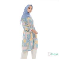 Atasan Muslim Wanita | Kiyoko Tunik Biru | S M L XL | Monalisa