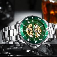 BIDEN jam tangan pria Mechanic Mode Santai Bisnis Tali stainless steel
