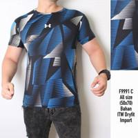 MOZAIK BLUE - KAOS PREMIUM / Baju running gym olahraga training pria