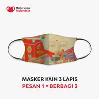 Masker Kain 3 Lapis (3 Ply) Earloop - Desain oleh Ardneks