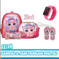 Tas Ransel LOL Anak Perempuan Tas Paket Plus Sandal dan Jam Tangan