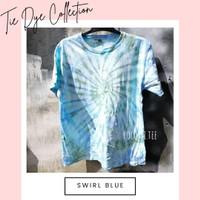 TIE DYE / KAOS / T-SHIRT UNISEX PREMIUM QUALITY - Swirl Blue - S