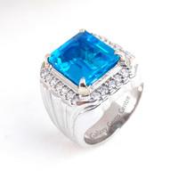 Cincin Pria Batu Blue Topaz Minimalis