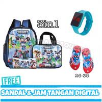 Tas Ransel Tobot Anak Laki Laki Tas Paket Plus Sandal dan Jam Tangan