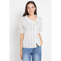 Mineola Collar Neck Striped Top White