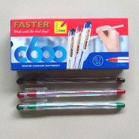 Ball Point Pulpen Faster C600 Isi 12 pcs - Hitam