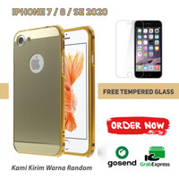 Mirror Hard Case iPhone 7 8 SE 2020 Frame Metal Free Tempered glass
