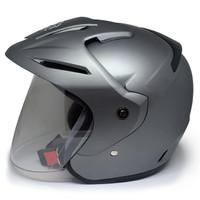 EROE M1 Helm SNI Open Face, Warna CLASSIC Solid, Clear Coat - Smoke Silver