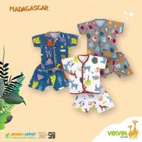 Setelan bayi Velvet Junior kancing depan ukuran M baju celana pendek