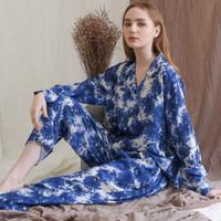 Anna Set in Super Blue - Sleepwear / Piyama Baju Tidur Rayon by RAHA