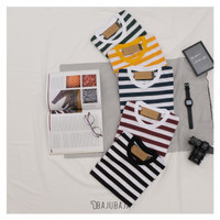 Bajubaja stripe big tshirt / kaos salur belang bahan cotton 30s - Big black, Pendek - S