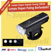 LAMPU DEPAN SEPEDA LIPAT RECHARGEABLE MTB LED SENTER AKSESORIS SEPEDA - Hitam