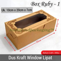 Dus kotak kue kraft coklat window uk. 10x20cm (Ruby 1)