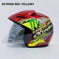 Helm Half Face Nyaman aman SNI untuk dewasa warna putih L motif kupu
