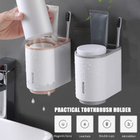 ECOCO Rak Sikat Gigi & Gelas Magnetic Wall Mounted Toothbrush Holder