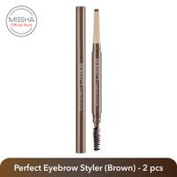 Missha Perfect Eyebrow Styler - brown, 2 pcs