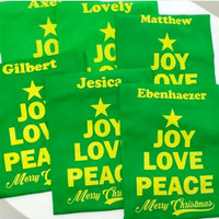 GRATIS CUSTOM NAMA-Kaos / Baju NATAL JOY LOVE PEACE Merry Christmas.