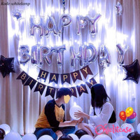 Paket set balon ulang tahun birthday dekorasi lampu LED romantis black