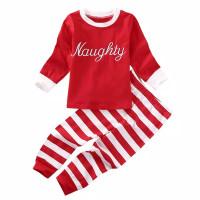 Piyama natal anak import merah hijau setelan baju kaos christmas naugh
