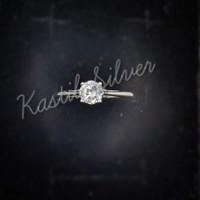 cincin wanita model soliter zircon perak 925 - 14