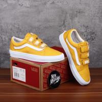 Sepatu Vans Old Skool V Velcro Prepet Sunflower Yellow Kuning Oldskool