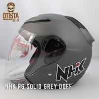 Helm Half Face Nhk R6 Solid Grey Doff Abu Abu Polos Matte - L, Kaca Clear
