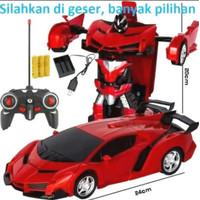 RC TRANSFORMER 1: 18 / MOBIL REMOTE JADI ROBOT BATERAI CAS - Merah