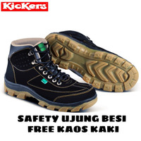 SEPATU SAFETY BOOTS PRIA KICKERS BOOT TACTICAL KULIT ASLI SUEDE MERCY