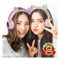 BT028C Headphone Bando Kucing LED Wireless Bluetooth untuk anak