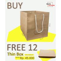 [1 LUSIN] PAPER BAG 25x25x24cm GRATISSSS BOX BROWNIES SENILAI 45RB SIS