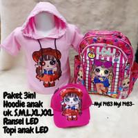 Pakaian Anak Perempuan Paket Kaos Hoodie dan Ransel Sequin LED Musik