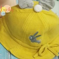 topi anak perempuan bunny bowler hat tebal - Kuning, 46 cm