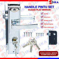 Handle PLAT BESAR 25CM + Body kunci + Silinder pintu / murah gagang