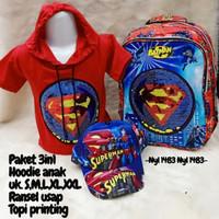 Pakaian Anak Laki Laki Superman Paket 3in1 Baju Hoodie Tas dan Topi