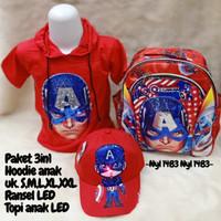 Pakaian Anak Laki Laki Captain Amerika Paket Baju Tas dan Topi LED
