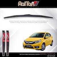 "Raiton Sepasang Wiper Hybrid Kaca Depan Mobil Honda Brio Satya 22""&16"""