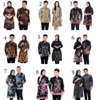 Batik Couple Atasan Wanita Tunik dan Pria Lengan Panjang Merak Mocca