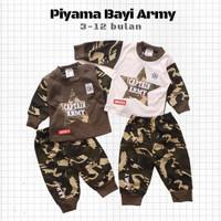 Baju Tidur Piyama Anak Bayi Laki Cowok Panjang Army Loreng 3-12 bulan