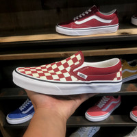 Sepatu Vans Slip On Classic CHECKERBOARD Rumba Red 100% ORIGINAL BNIB