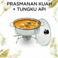 Prasmanan Kuah Tungku Api Stainless Tutup Kaca Bulat Diameter Wadah Ma