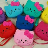 Dompet Koin Hello Kitty Coin Pouch/Dompet Karakter Hello Kitty Silikon - Merah