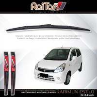 "Raiton Sepasang Wiper Hybrid Kaca Depan Mobil Karimun Estilo 22"" & 14"""