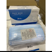 Masker 3ply disposable facemask isi 50pcs / box warna biru