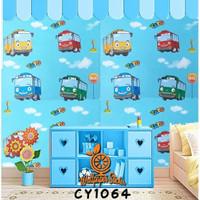 Wallpaper dinding stiker tembok murah wallsticker kartun bus tayo