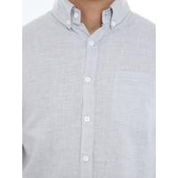 Kemeja Casual Pria Lengan Panjang Toshiro 100% Linen Shirt Premium - ABU MUDA, L