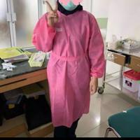 Setelah apd Gown disposable 75gsm Ready pink Dan biru